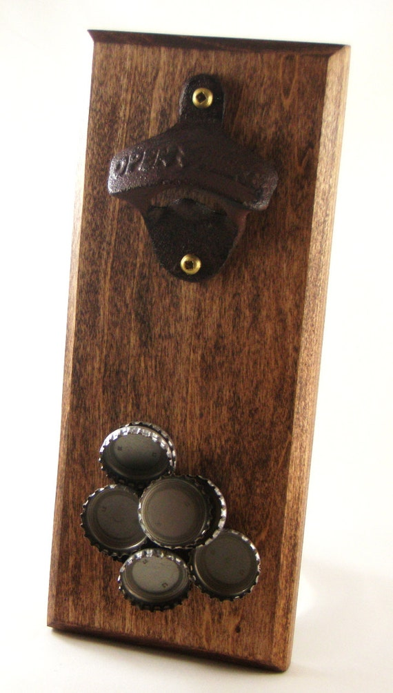 wall mount bottle opener with magnetic cap by whiterabbitwood. Black Bedroom Furniture Sets. Home Design Ideas