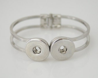 Snap-It Double Silver Bangle ~ Chunk Charms/ Ginger