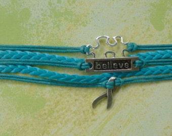 Turquoise Braided Leather Autism Puzzle-Believe-Ribbon Bracelet