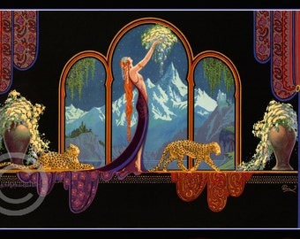 Goddess of the Mountains Print, by Fred Packer, Art Deco lady with leopards, Long Red Hair, Fantastic Print, Giclee Art, 1920s 12x18, 20x30