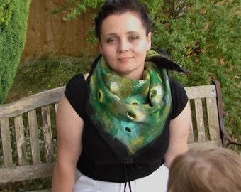 Shawl with brooch,wet felt shawl
