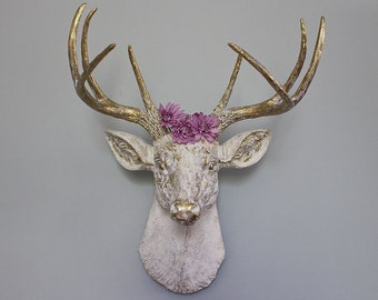 Faux Taxidermy Deer Stag Buck Head Wall Decor Vintage White Brass Rustic Trophy Animal Antler Art Bedroom Kitchen Den Sculpture-MySecretLite