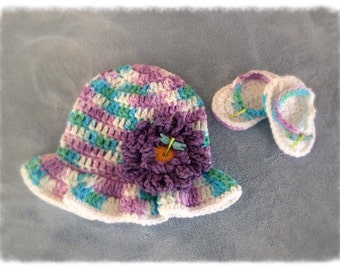Baby Bucket Hat & Sandals Set, Girl, Dragonfly Hat, Crochet Hat, Baby, Sandals, Bucket Hat, Ready to Ship, Purple, Newborn, Cotton,Sun Hat