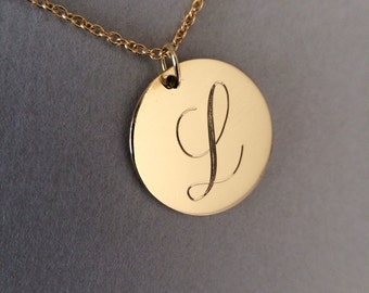 14k solid gold initial necklace name necklace monogram necklace