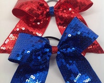 Red and blue sequin cheer bow