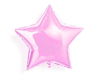 "Light Pink Star Balloon - Matte Foil Mylar - 20"" - First Birthday Party, One, New Years Eve, Wedding Shower, Baby Shower, Helium Balloon"