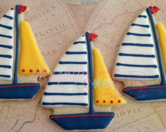 Sailboat decorated cookies - PERSONALIZED to your colors