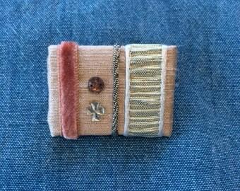 Pink ribbon brooch Silk ribbon-Vintage french beads-Vintage french ribbons BC025