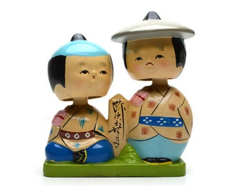 Vintage Nodder Doll Pair Japanese