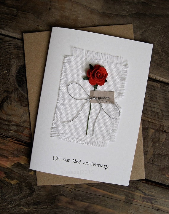2nd Wedding Anniversary Card with cotton fabric & red rose. COTTON the ...