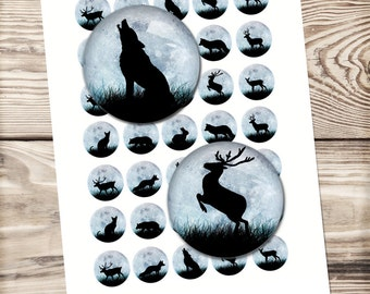Digital collage sheet moonlight animals, deer silhouette,wolf silhouette ,circle collage , winter collage, diy christmas gift ,glass dome,