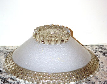 """Lamp Supplies, White Beaded Glass Lamp Shade 10"""" Wide, 1970s"""