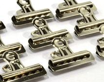 "12-Heavy Duty Nickel-Plated Steel Bulldog Clips-2-1/4"" Wide- 1/2"" Capacity"