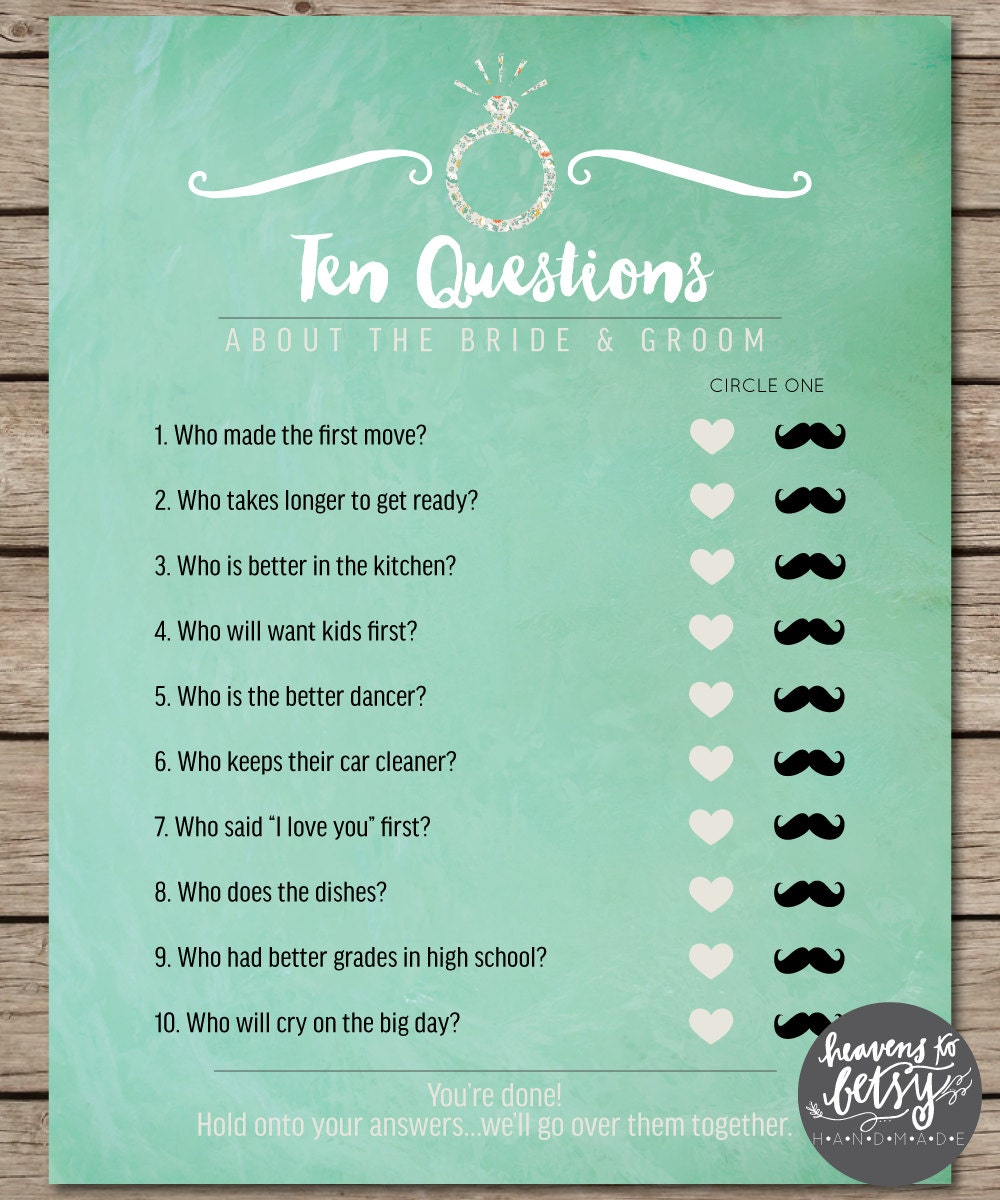 Bride And Groom Questionnaire: Mint Watercolor Ten Questions Bridal Shower & By HTBHandmade