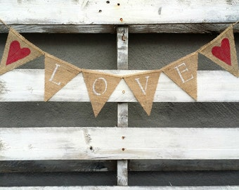 Mini Love Burlap Banner, Rustic Wedding Decor, Photo Prop Banner, Rustic Home Decor