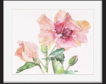 """SALE 30% off Original Hibiscus Painting - An Original Watercolor Painting, """"Hibiscus and Bud"""", Garden, Hibiscus flower, Watercolor Flower"""