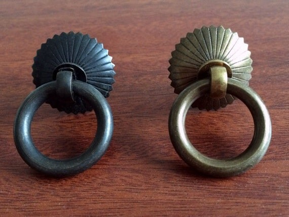 Small Drawer Pull Knobs Handles Dresser Drop Pulls Rings / Antique ...