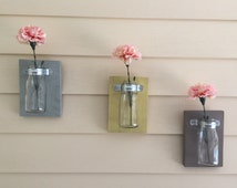 Milk jar vases, wall Flower vases, set of 3, shabby chic, house warming gift, spring decor, wall vase, milk jug wall art, wall mount vases,