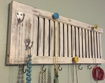 Shutter jewelry rack, shutter decor, Jewelry holder, jewelry display, shutter with knobs, jewelry organizer, jewelry storage, shabby chic