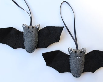 Black Bat Ornament, Halloween Bat Ornament, Felt Bat Ornament, Halloween Party Favors, Whimisical Felt Bat, Halloween Bat Decor