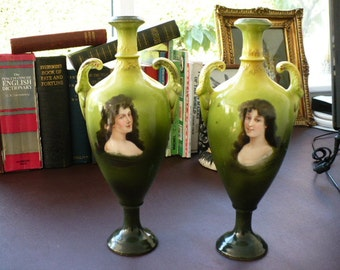 Mid 19th c Handed Pair Gebruder Heubach Portrait Vases - 19th c Porcelain