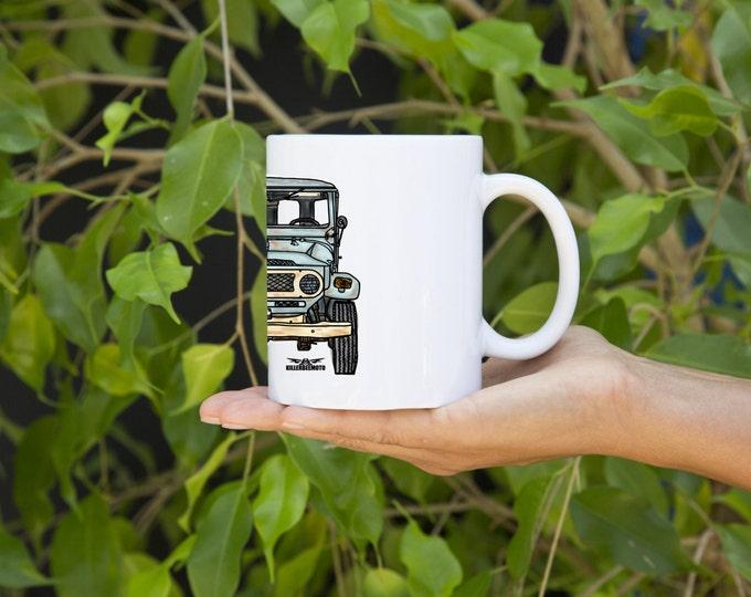 KIllerBeeMoto:  U.S. Made Limited Release Japanese Vintage SUV Ink Style Coffee Mug (White)