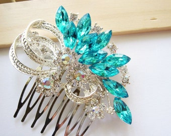 Something Blue Flower Bouquet Hair Comb - Crystal Head Piece - Ribbon Hair Piece - Bridal Jewelry - Bridesmaid Gift - Under 35