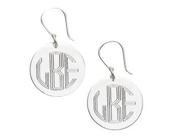 Monogrammed Silver  Earrings, personalized earrings,hanging silver earring, [personalized earring
