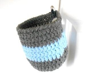 Crochet Hanging Basket - Nursery Storage Basket - Hanging Basket Organizer - Bathroom Storage Organizer - Coat Hook Basket - Hanging Storage