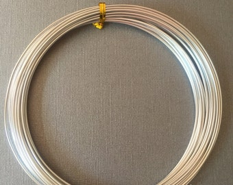 Silver Aluminum wire 12 gauge  - 10 ft anodized wire. Jewelry making, crafting, Floral crafts