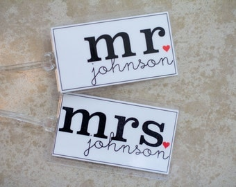 Mr. and Mrs. Luggage Tag - Set of Two Custom Bag Tags, Honeymoon Luggage Tag