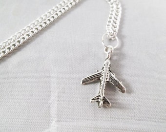 Pretty Antique Silver Detailed 3-D Airplane/ Travel Design Silver Plated Charm Necklace