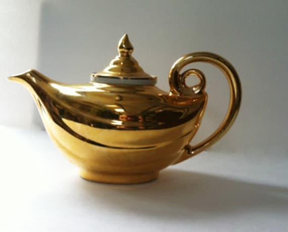 Vintage gold teapot hall aladdin golden glo 22k gold teapot - Aladdin teapot ...
