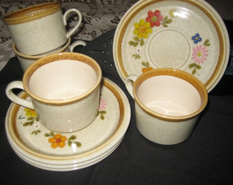 "Mikasa Stoneware ""Floribunda"" Cups and Saucers (4 each)"
