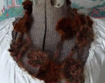 Crochet Skinny Scarf, Lightweight Flower Boa, Brown, Rust, Fiber Jewelry, Year Round Wear
