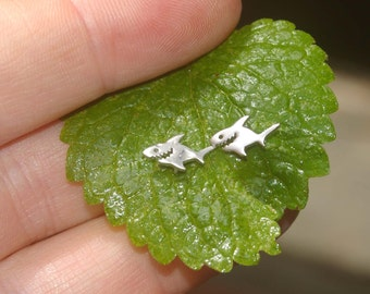 Tiny Shark Post Earrings in Silver Plated - Tropical, shark, Hawaii, Beach Wedding, flower, tiny post earrings