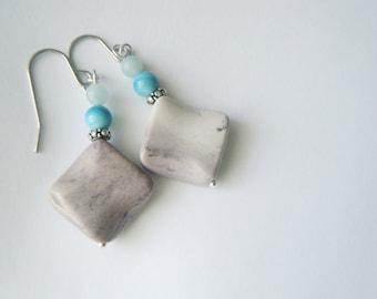 Gemstone earrings Diamond gemstone jewelry Ombré earrings Pastel boho jewelry Amazonite Mookaite earrings Blue earrings Gift for her