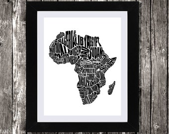 "Map of Africa, Africa Map, Word Map of Africa, Printable Africa Map, Instant Download, African Art, Typography Map of Africa, 8x10"", 11x14"""