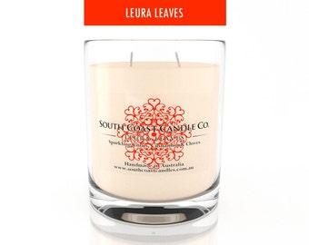Orange Cinnamon Clove Scented Soy Wax Candle Glass Housed Jar