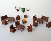 Tavern Furniture Set - 18 piece set -Celtic themed tables for game scenery. Incudes chairs, benches, and wall trophies. One of Kind, Unique!