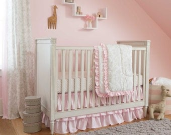 Girl Baby Crib Bedding: French Gray and Pink Damask 3-Piece Crib Bedding Set by Carousel Designs