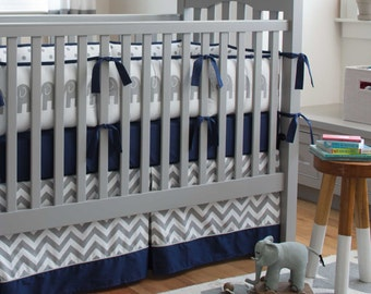 Baby Boy Crib Bedding: Navy and Gray Elephants 4-Piece Crib Bedding Set by Carousel Designs