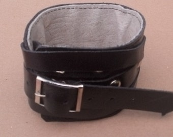 Chunky Black Leather  Cuff Bracelet Adjustable with Buckle Mens Womens Gift from Ukraine
