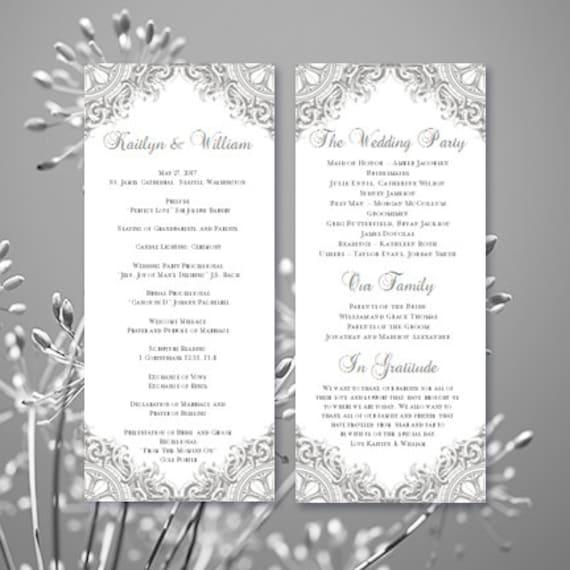 wedding program vintage silver gray printable word, Wedding invitations