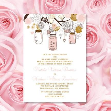 Wedding Invitations Templates Rustic Mason Jars
