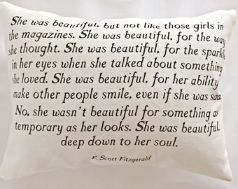 She Was Beautiful Pillow, F. Scott Fitzgerald