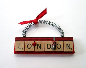 Love London Travel Scrabble Tile Ornament