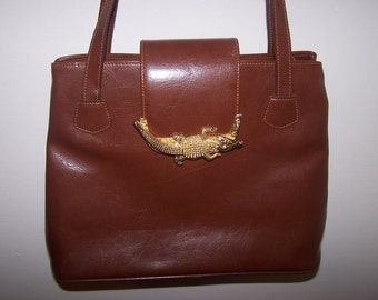 Vintage Brown Faux Leather Purse with Gold Alligator Clasp REDUCED was 29.99