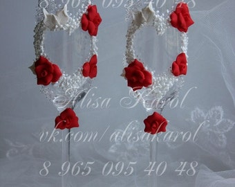 Wedding glasses  in red white- color,wedding toasting glasses handmade flowers(ANY COLOR)