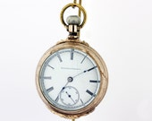 Gold Filled Elgin Pocket Watch with Fern Design and Watch Chain